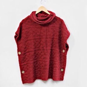 Sweaters - Red Cowl Neck Side Button Poncho